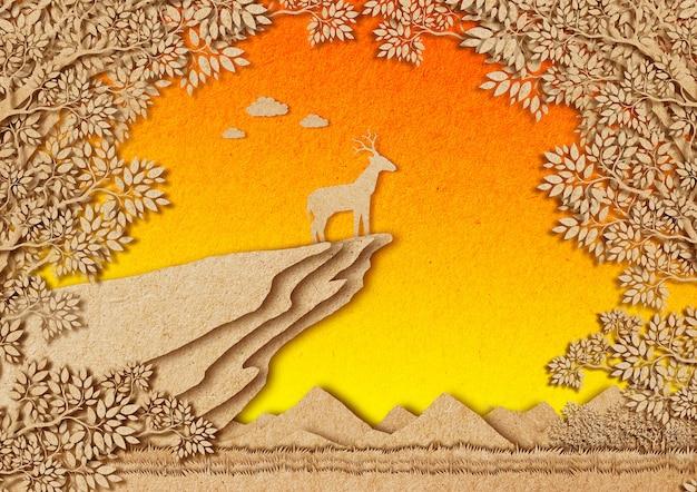 Cervi nella foresta. stile di taglio della carta