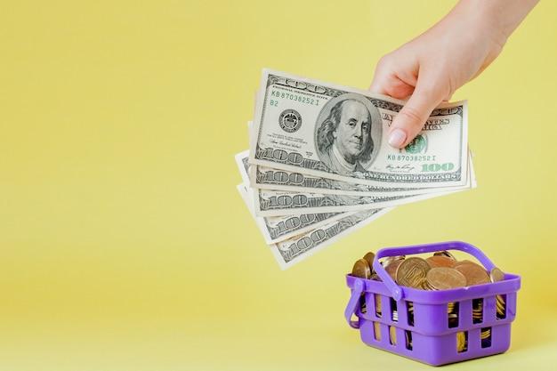 Cestino della spesa con le monete e le banconote in dollari in mani su giallo copyspace