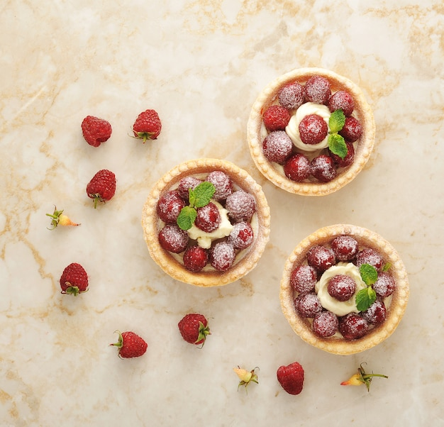 Cestino della torta con lamponi freschi e dessert di crema di frutta