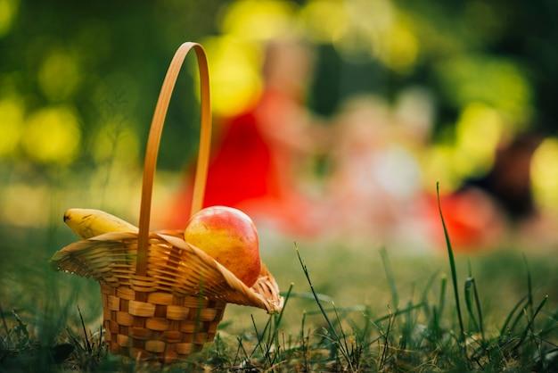 Cestino di picnic con sfondo sfocato