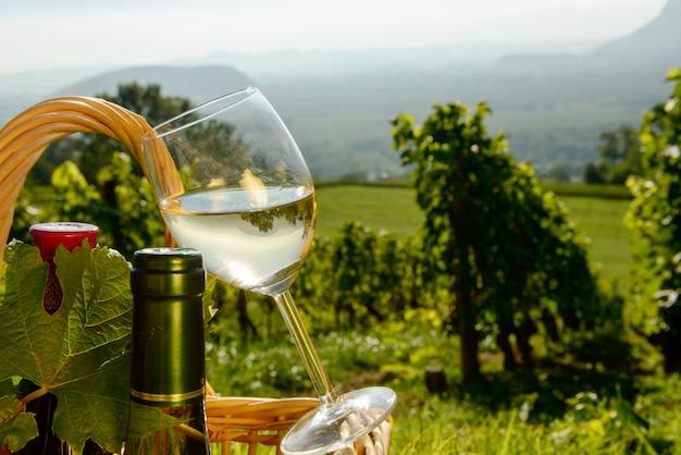 Cesto con bottiglie e bicchiere di vino nei vigneti