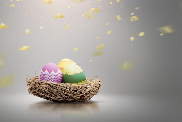 Cesto con uova colorate di pasqua