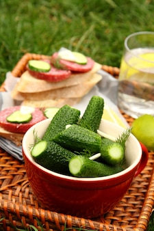 Cetrioli salati freschi fatti in casa nella ciotola e panini con salsiccia affumicata