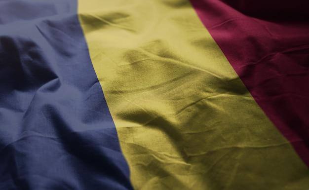 Chad flag rumpled close up