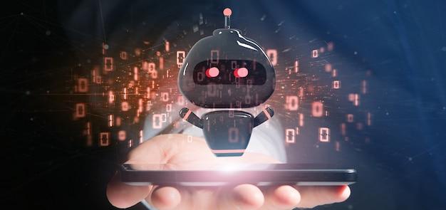 Chatbot del virus della tenuta dell'uomo d'affari con la rappresentazione di codice binario 3d