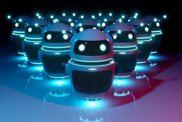 Chatbot robot leader del gruppo di robot