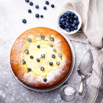 Cheesecake con mirtilli.