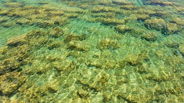 Chiara superficie d'acqua e fondo marino