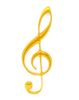 Chiave tripla dorata isolata su fondo bianco. simbolo musicale
