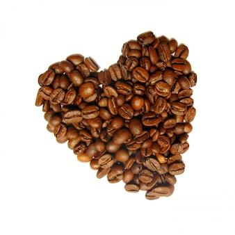 Chicchi di caffè a forma di cuore