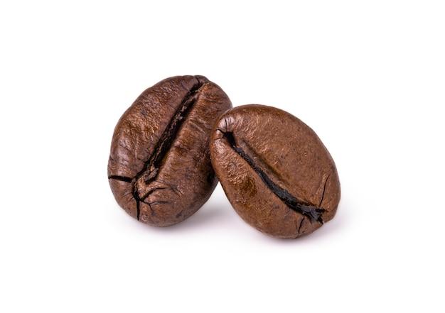 Chicchi di caffè arabica marrone scuro.
