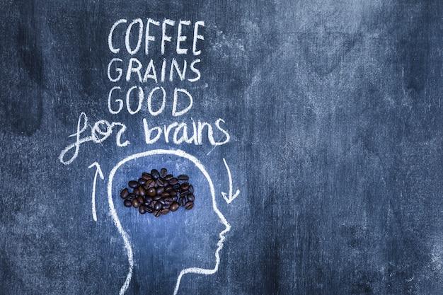 Chicchi di caffè buoni per il testo del cervello sopra la testa di contorno con il gesso sulla lavagna