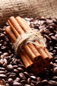 Chicchi di caffè e bastoncini di cannella