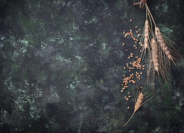 Chicchi di grano e spighette su sfondo arrugginito.