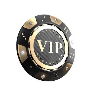 Chip 3d dorato del casinò di vip