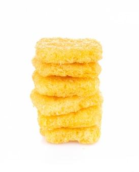 Chip di cereale isolati su bianco