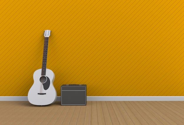 Chitarra acustica con amplificatore per chitarra in una stanza gialla, rendering 3d