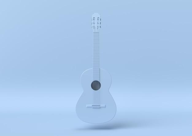 Chitarra astratta di colore blu, minimalista moderno, rappresentazione 3d