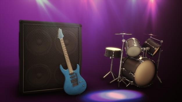 Chitarra elettrica blu con una grande illustrazione combinata 3d del tamburo e combinata