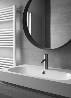 Chiuda in su dell'interno moderno della stanza da bagno