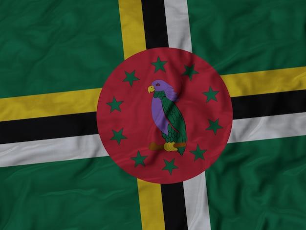 Chiuda in su della bandiera della dominica increspata