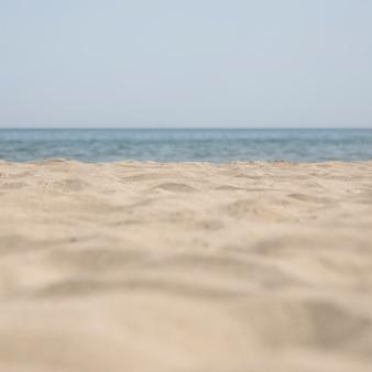 Chiuda in su della spiaggia sabbiosa tropicale