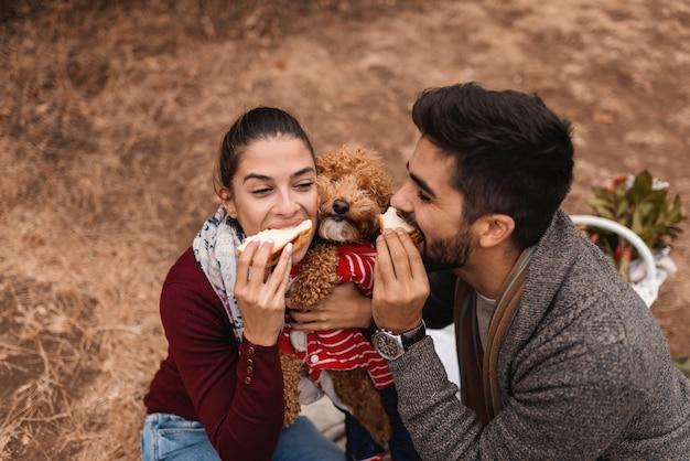 Chiuda in su delle coppie sul picnic che mangia i panini. tra loro il loro barboncino all'albicocca. tempo d'autunno.