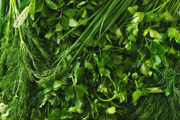 Chiuda in su delle erbe fresche in pieno delle vitamine