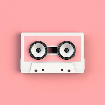 Chiuda su della cassetta d'annata della cassetta audio con l'illustrazione di concetto degli altoparlanti, la vista superiore con lo spazio della copia, la rappresentazione 3d