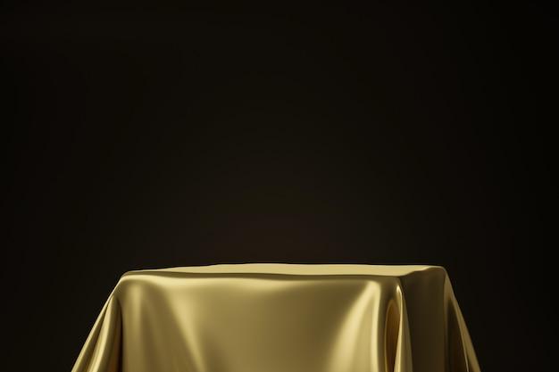 Chiuda su di tessuto lussuoso dorato disposto sul piedistallo superiore o sullo scaffale in bianco del podio sulla parete nera con il concetto di lusso. rendering 3d.