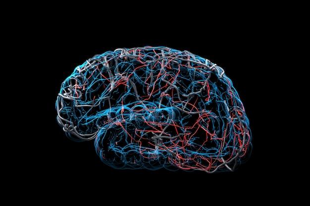Chiuda sui raggi x brain concept. rendering 3d.