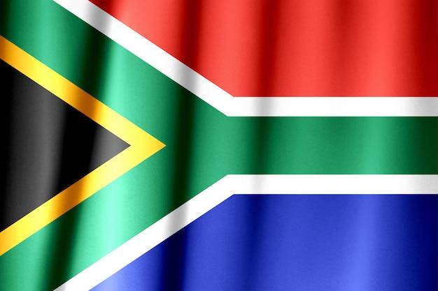 Chiuda sul colpo della bandiera sudafricana ondulata e variopinta