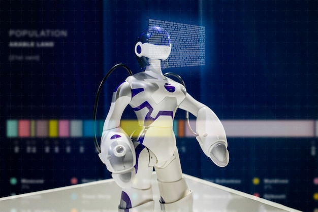 Chiuda sul robot moderno, interfaccia tecnologica