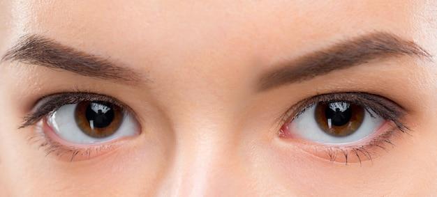 Chiuda sull'immagine degli occhi marroni femminili