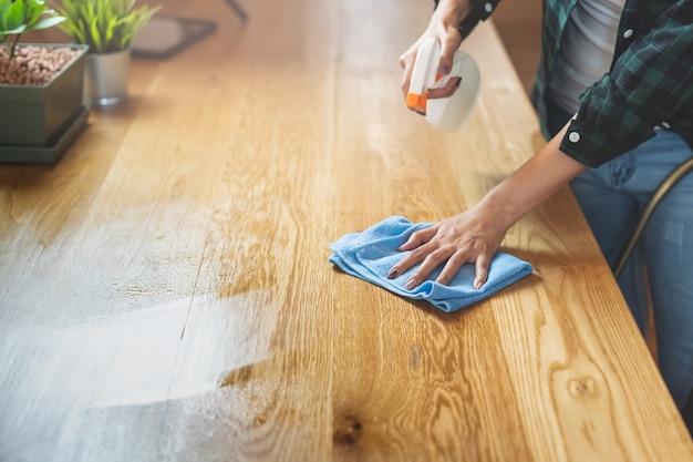 Chiuda sulla cucina di pulizia della donna facendo uso dello spruzzo e del panno della pulitrice.