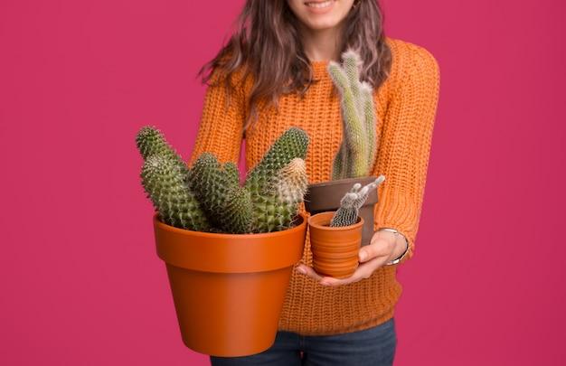 Chiuda sulla foto delle piante del cactus della tenuta della donna sopra spazio rosa
