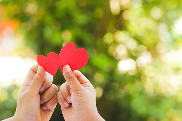 Chiuda sulla mano dei bambini che tengono mini cuore su fondo verde.