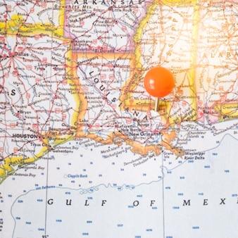 Chiuda sulla mappa del nord america e sul punto