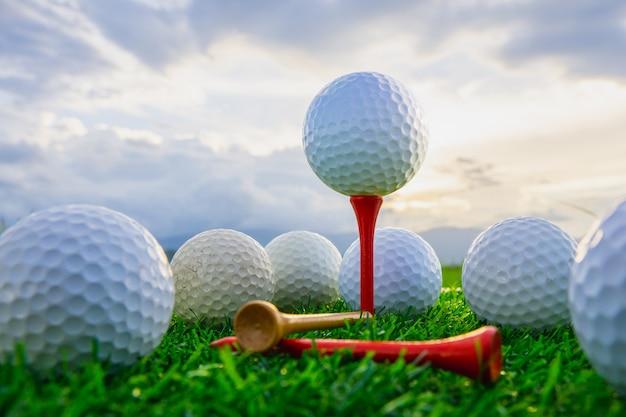 Chiuda sulla palla da golf sulle spine del t pronto per giocare e sull'erba verde