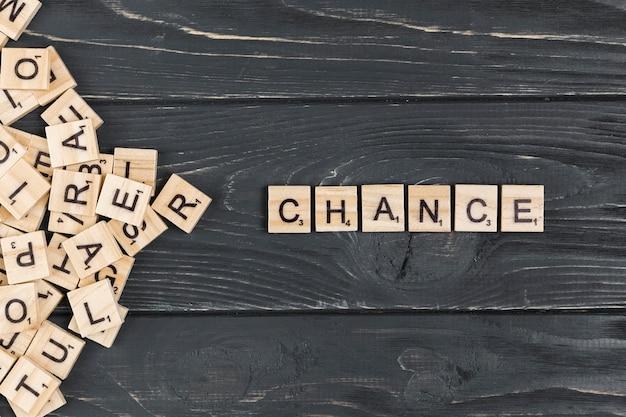 Chiuda sulla parola del cambiamento su fondo di legno
