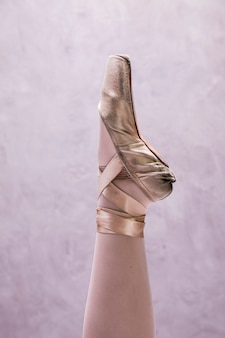 Chiuda sulla scarpa del pointe della ballerina