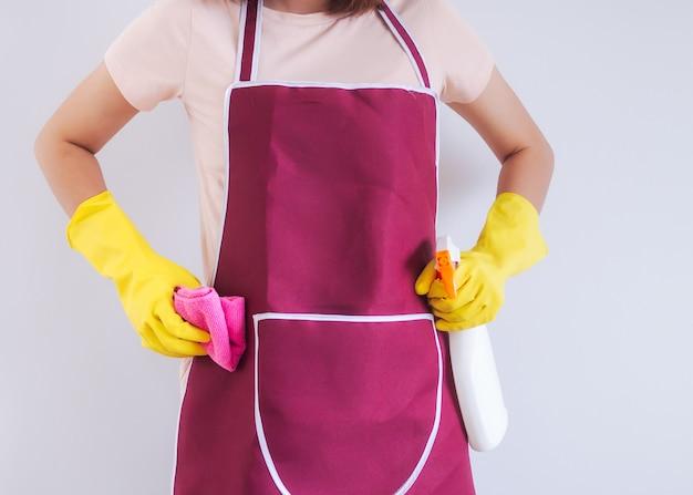 Chiuda sulla vista del corpo della roba della tenuta della giovane donna per il pulitore pronto alla casa di pulizia.