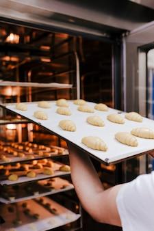 Chiuda sulla vista dello scaffale della tenuta della tenuta della donna dei croissant in un forno.