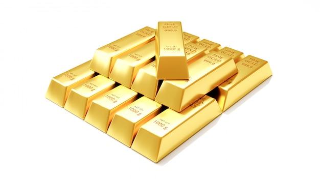 Chiuda sulla vista di animazione 3d delle barre di oro fini su priorità bassa bianca