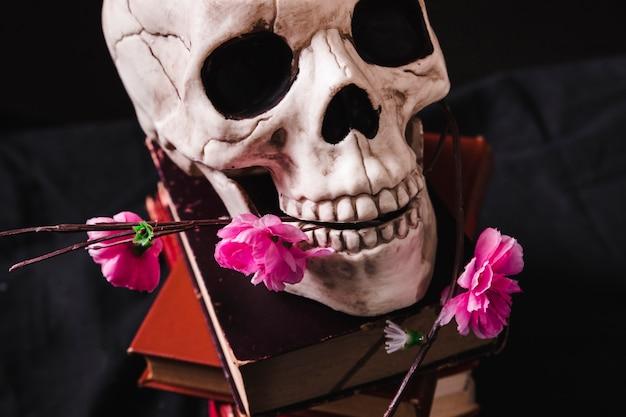Chiuda sulla vista di cranio e fiori di plastica