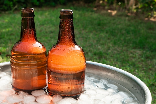 Chiuda sulle bottiglie di birra in vassoio con ghiaccio