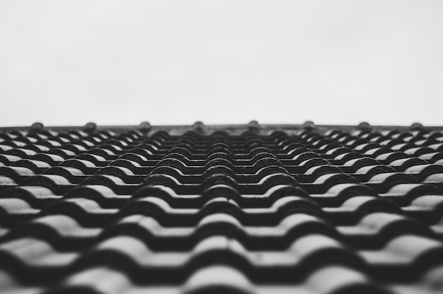 Chiuda sulle mattonelle di tetto del fuoco selettivo b & w della casa.