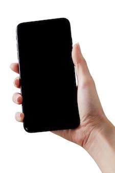 Chiuda sullo smartphone della stretta della mano