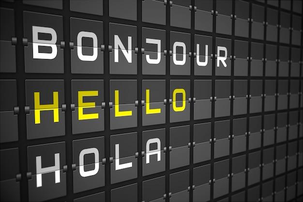 Ciao in lingue su scheda meccanica nera