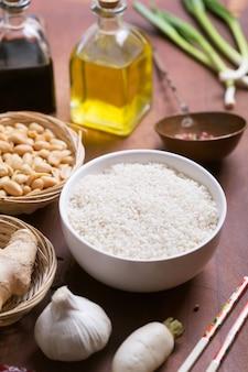 Cibo cinese materie prime, verdure e riso